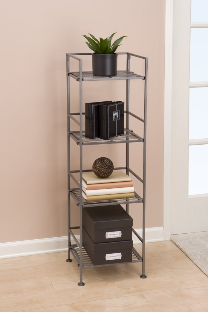 2 Seville Classics 4 Tier Iron Square Tower Shelving via simphome 2