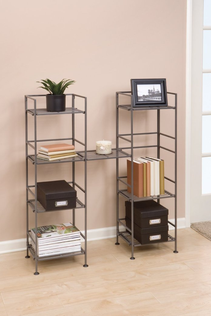 2 Seville Classics 4 Tier Iron Square Tower Shelving via simphome 5