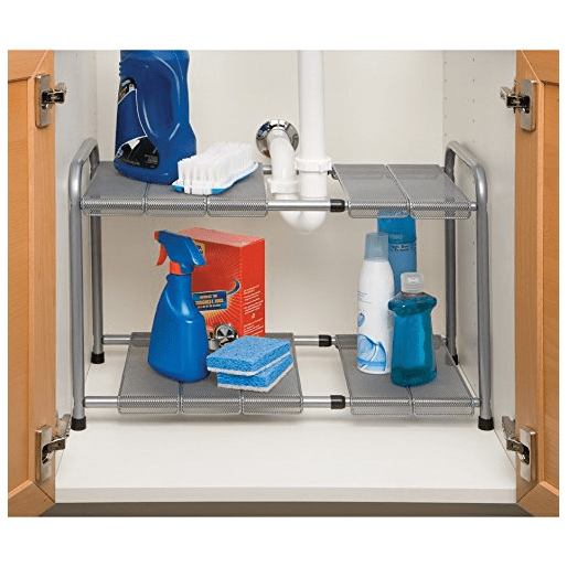 Seville Classics Expandable Under Sink Shelf with Steel Mesh and Removable Panels via simphome 2