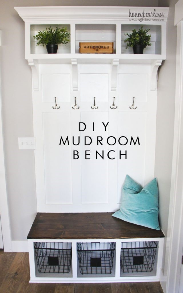 10 DIY Mudroom Bench with Hooks and Open Shelves Simphome com