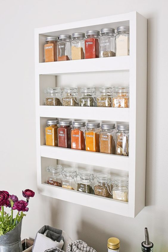 156 DIY Wall Spice Rack by Angela Marie made via simphome