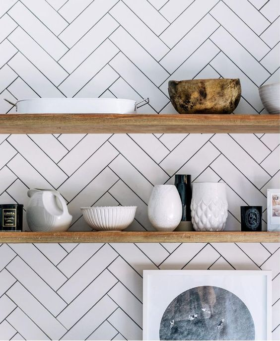 33. Creative diagonal chevron subway tiles