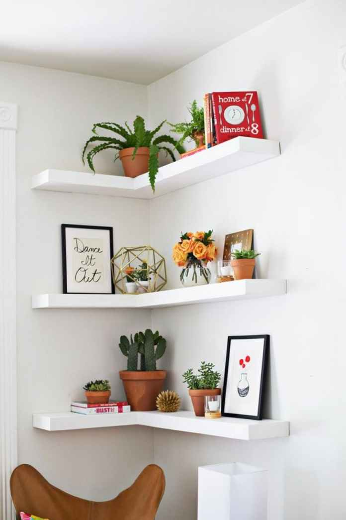 4 Corner Shelves hanging ideas via simphome
