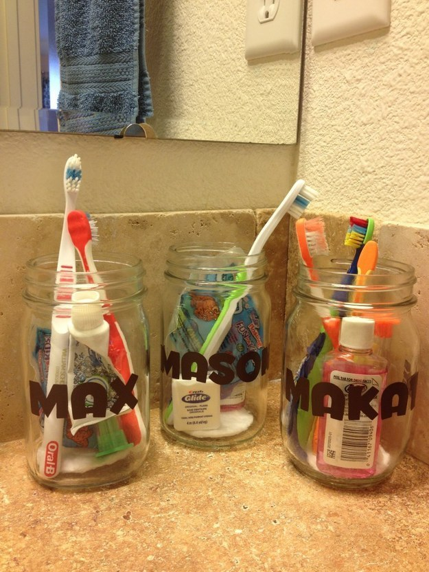 10 10 Give everyone their own jar for their toothpaste and toothbrush via simphome