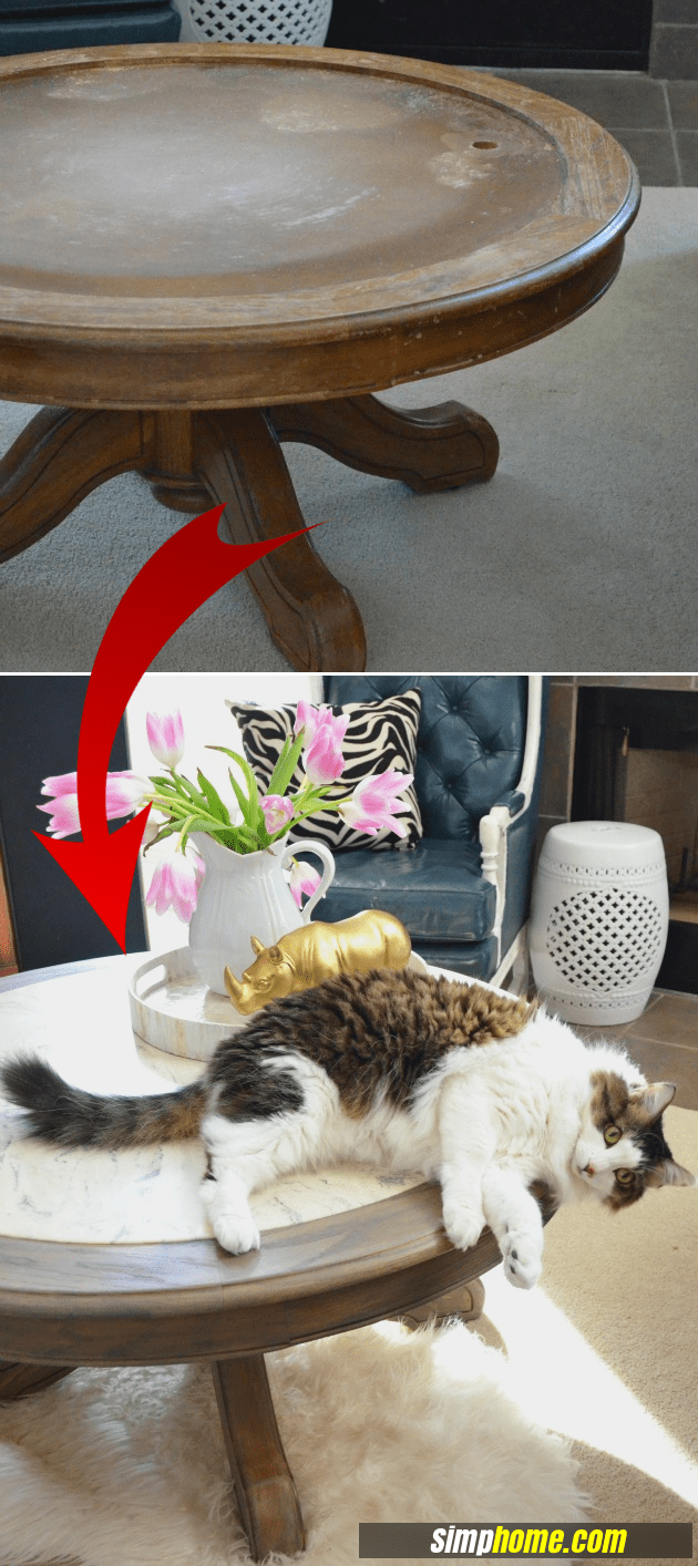 How to turn Ugly Coffee Table to Marble like coffee table via simphome com final result