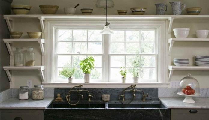 1 Floating kitchen shelving idea around the Window via Simphome