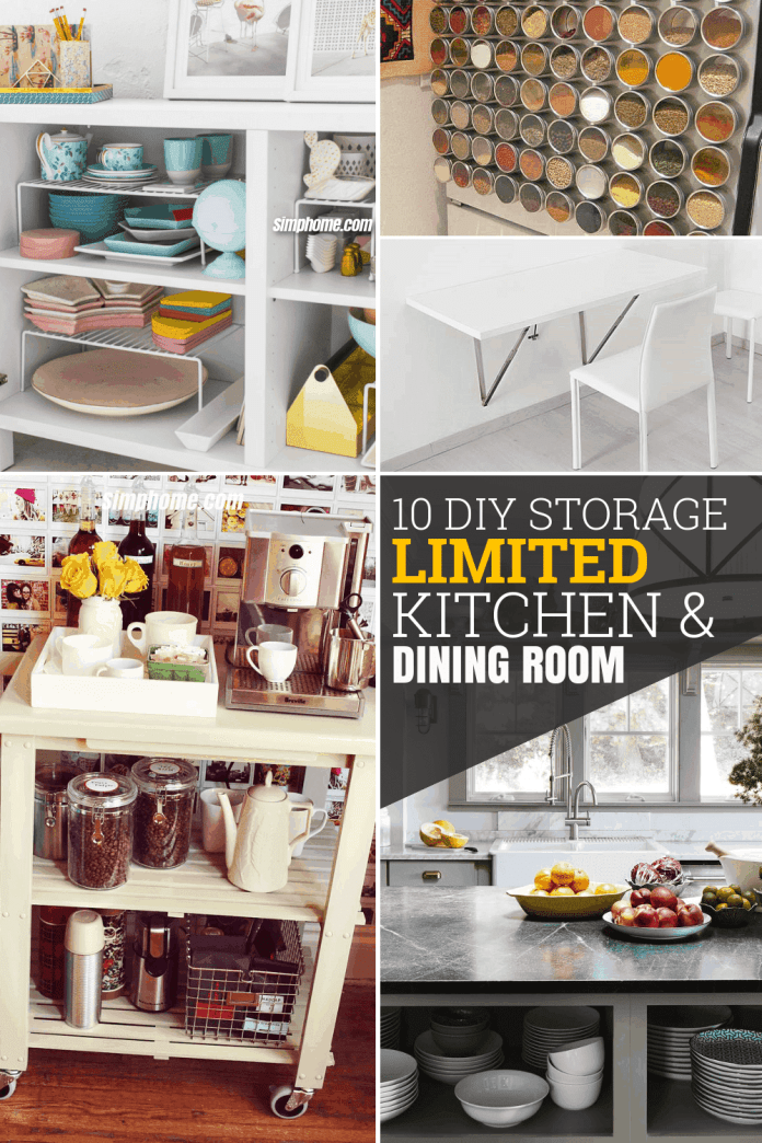 10 DIY Storage Ideas for Limited Kitchen and Dining Room Simphome.com Pinterest Featured