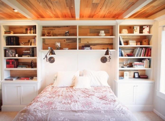 10 Use Built In Shelves as the Headboard via Simphome