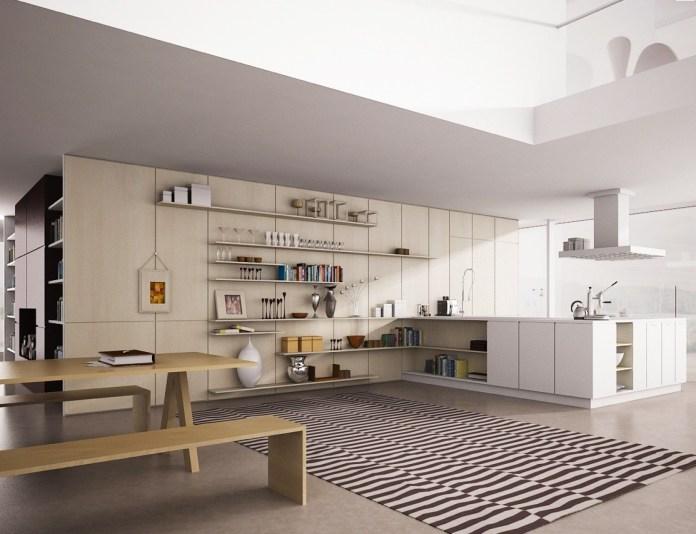 2 A Minimalist Wall Kitchen shelving idea via Simphome