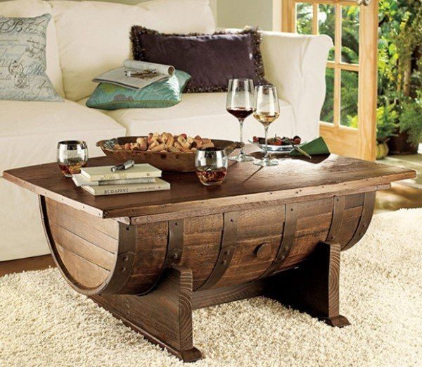 3 Wooden Barrel Coffee Table via Simphome
