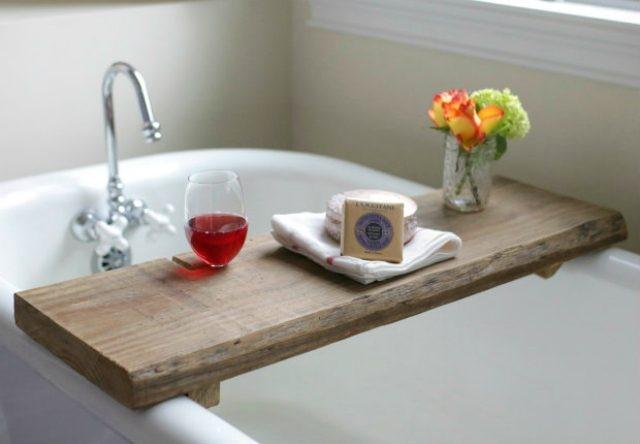 2. Reclaimed Wood Bath Caddy via Simphome