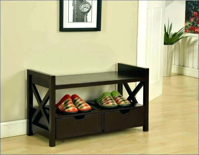 4. Shoe Bench with Drawers via Simphome