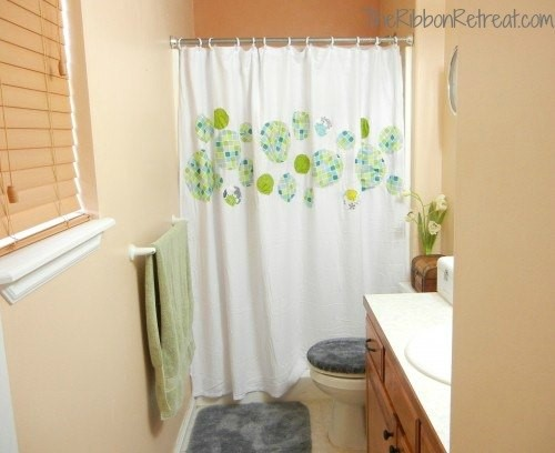 9. Add More Pattern to Your Shower Curtain via Simphome