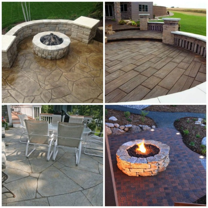 1 3. Concrete with wood plank stamped on it Curved flagstone stamped concrete Stone firepit idea via Simphome.com .jpg