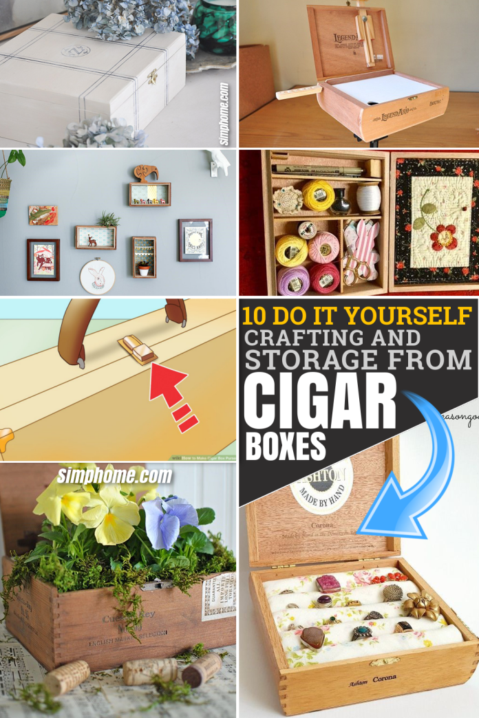 10 DIY Crafting and Storage ideas from Cigar Boxes via Simphome.com Pinterest Featured image