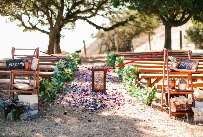 7.Wooden Benches for Wedding Ceremony Guests.