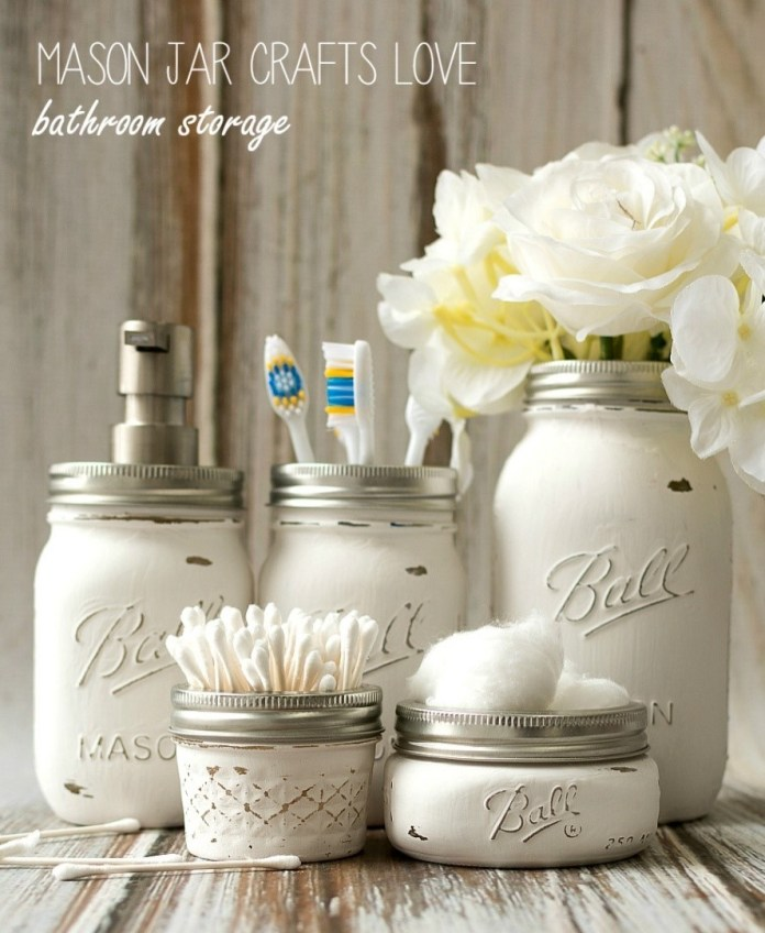10. Mason Jar Bathroom Storage via SIMPHOME.COM