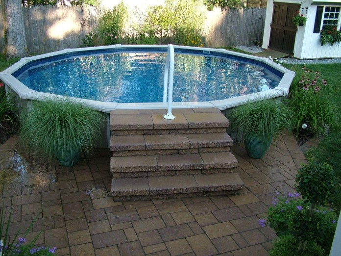 10.SIMPHOME.COM Small Round Above Ground Pool with Stepping Stones