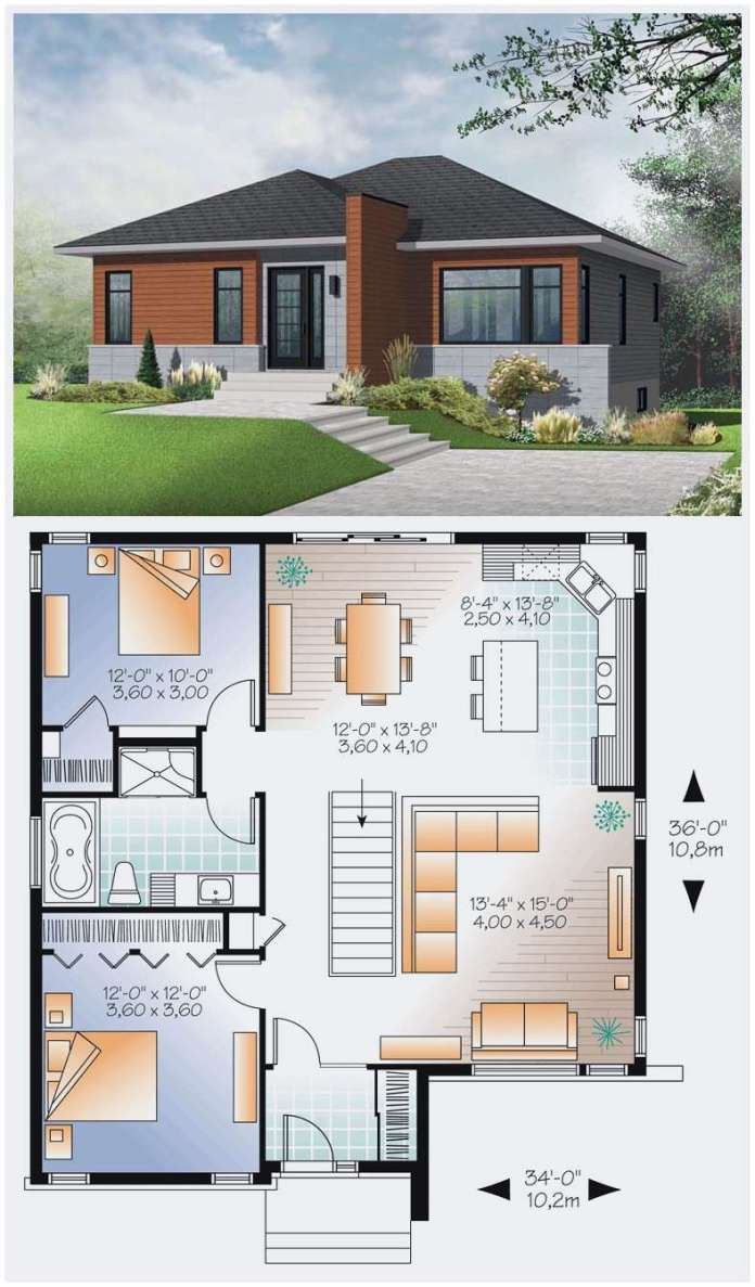 6.. A modern Bungalow floor design via SIMPHOME.COM
