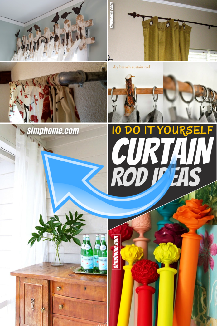 SIMPHOME.COM 10 DIY curtain rods ideas Pinterest Featured Image