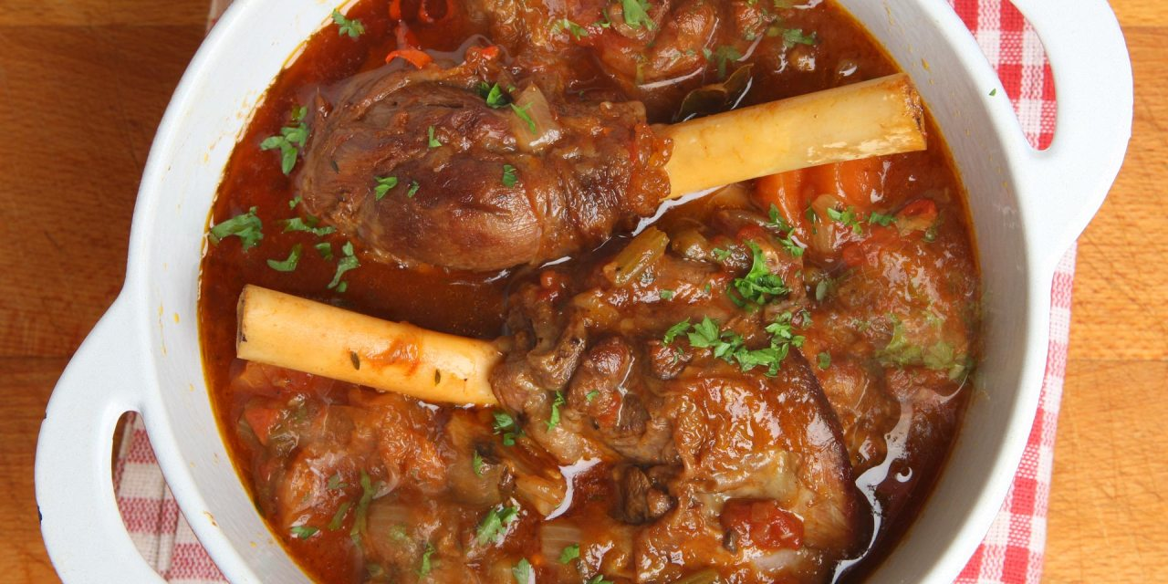 Slow Cooked Lamb Shanks in a Tomato Sauce