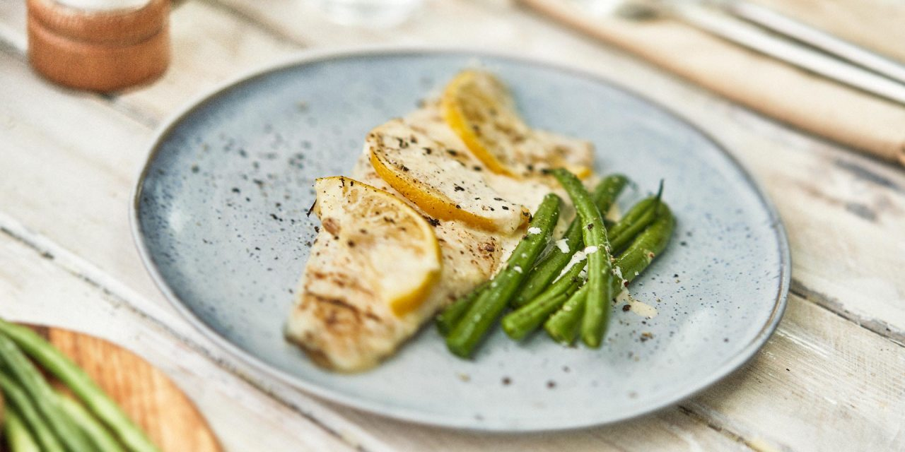 Sea Bass fillets in lemon cream sauce