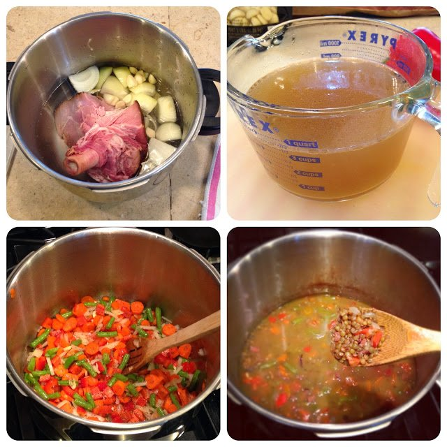 Pressure Cooking Ham Stock for Soup