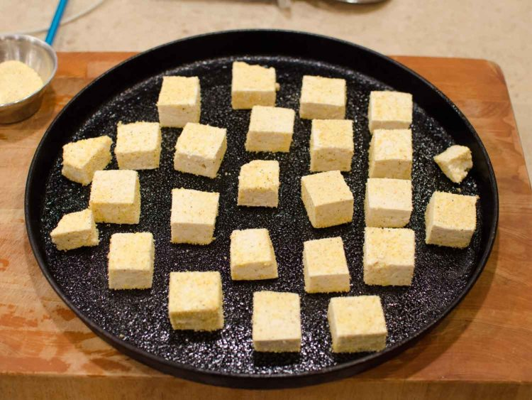 Crispy Baked Tofu on a Sheet Pan before Baking