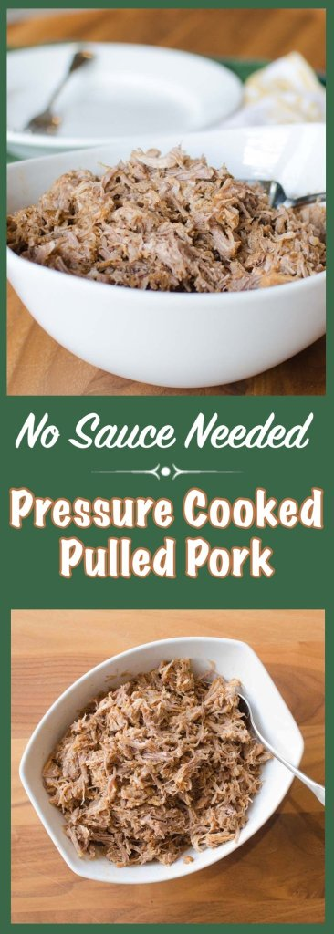 Make this awesome Pulled Pork in your Pressure Cooker (or Instant Pot) in under an hour!  And no sauce is needed!!!  It's that good.