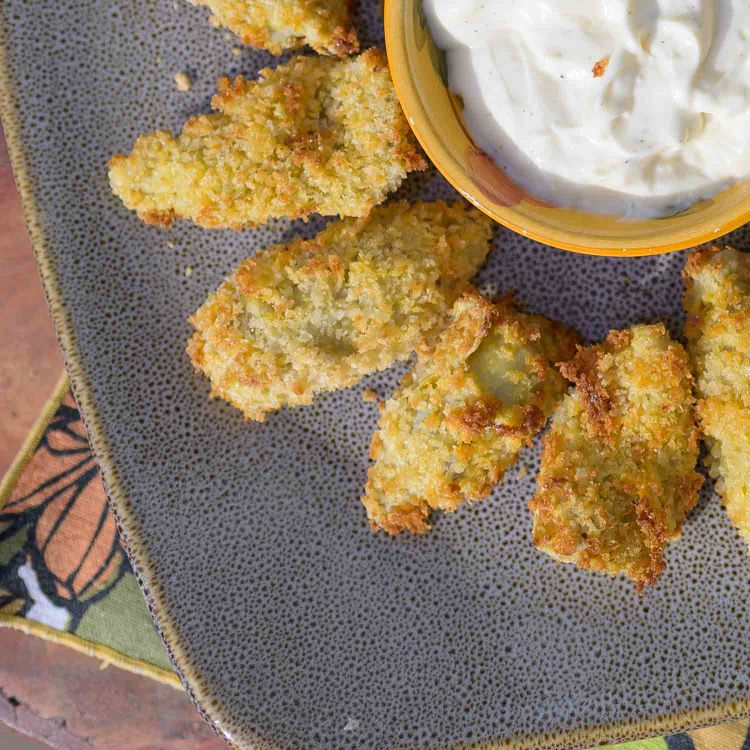 Crispy Air Fried Artichoke Hearts with Garlic Aioli