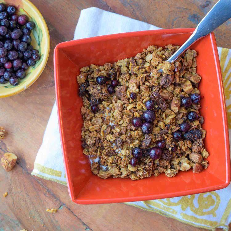 Bowl of Okara Breakfast Granola with Greek Yogurt