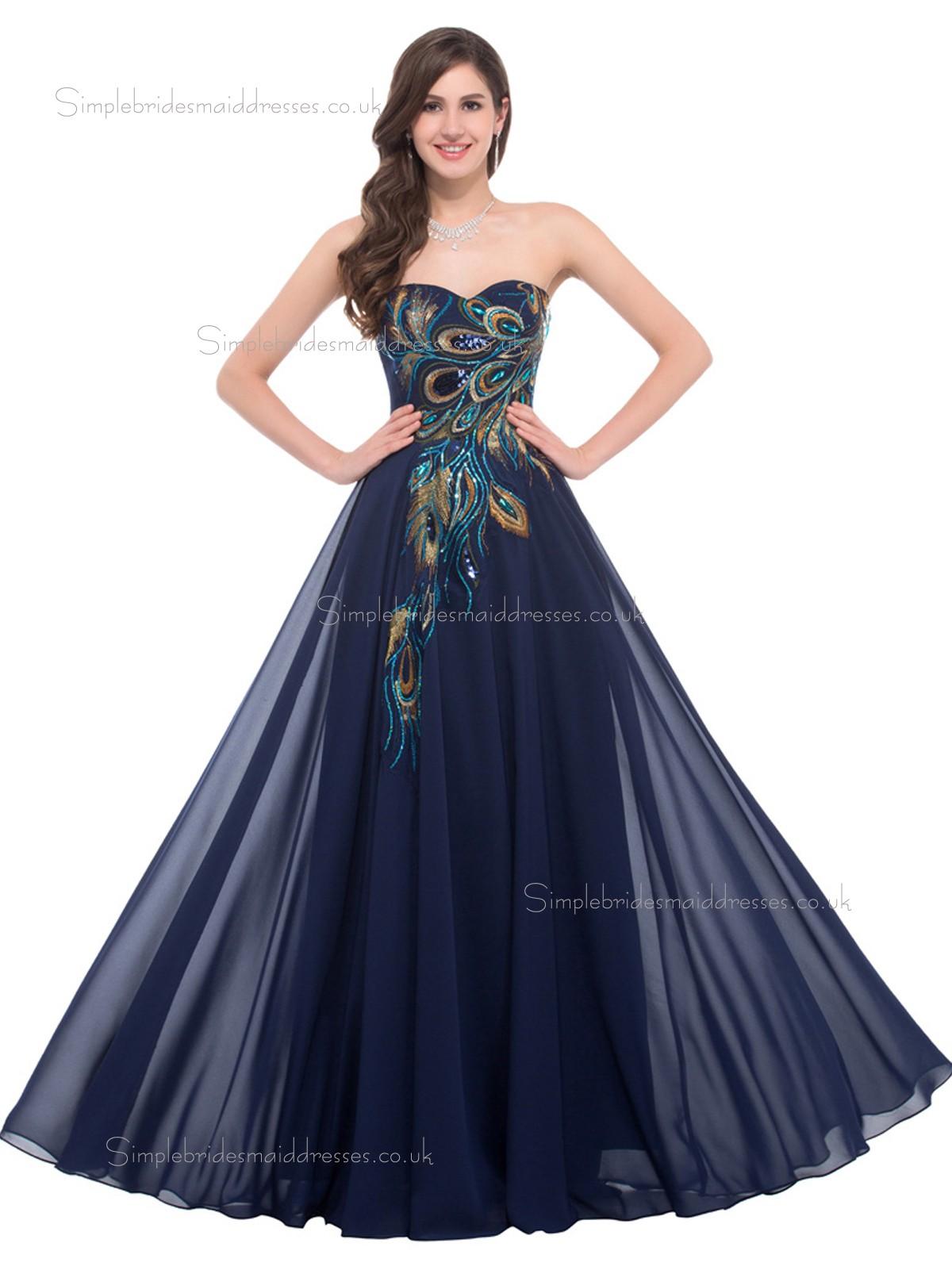 Buy Hot Sale Elegant Sweetheart Peacock Chiffon Bridesmaid