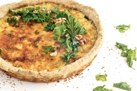Roasted Beet, Baby Kale and Brie Quiche