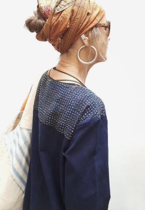 Blauw Shashiko blouse