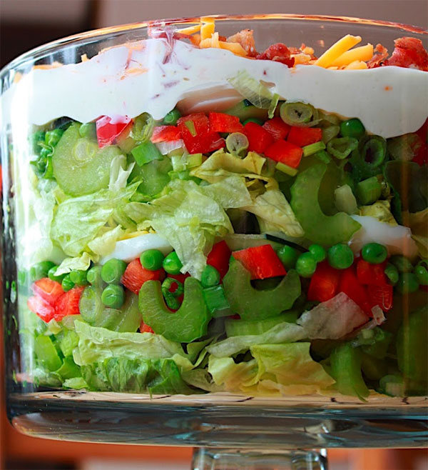 Seven Layer Salad Recipe with Wasabe Mayonnaise Dressing