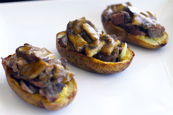 Roast Beef Potato Skins with Mushroom Gravy