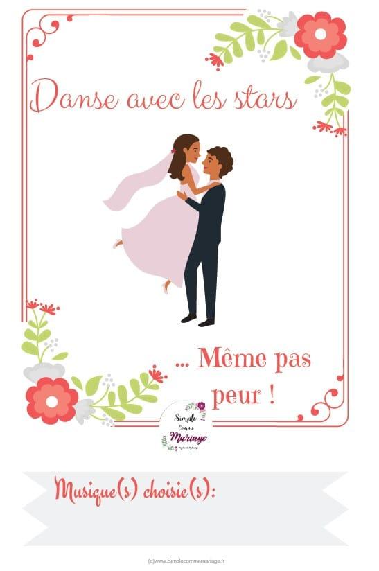 carte étape mariage danse
