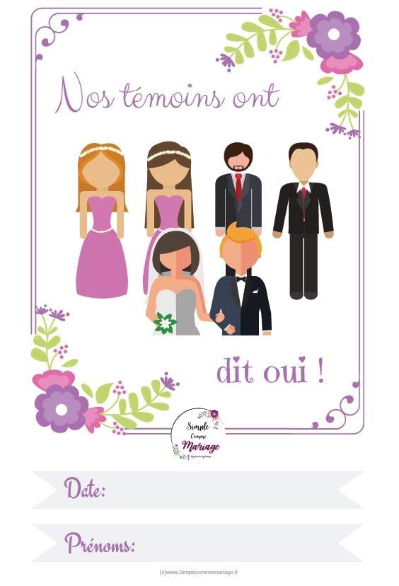 carte étape mariage témoins