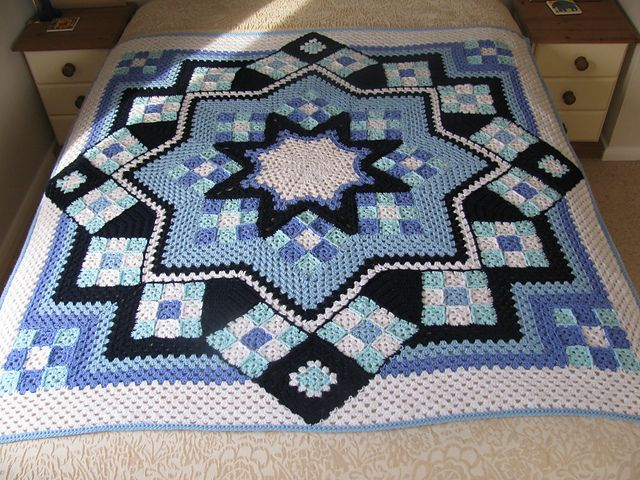 Blue Granny Square Blanket