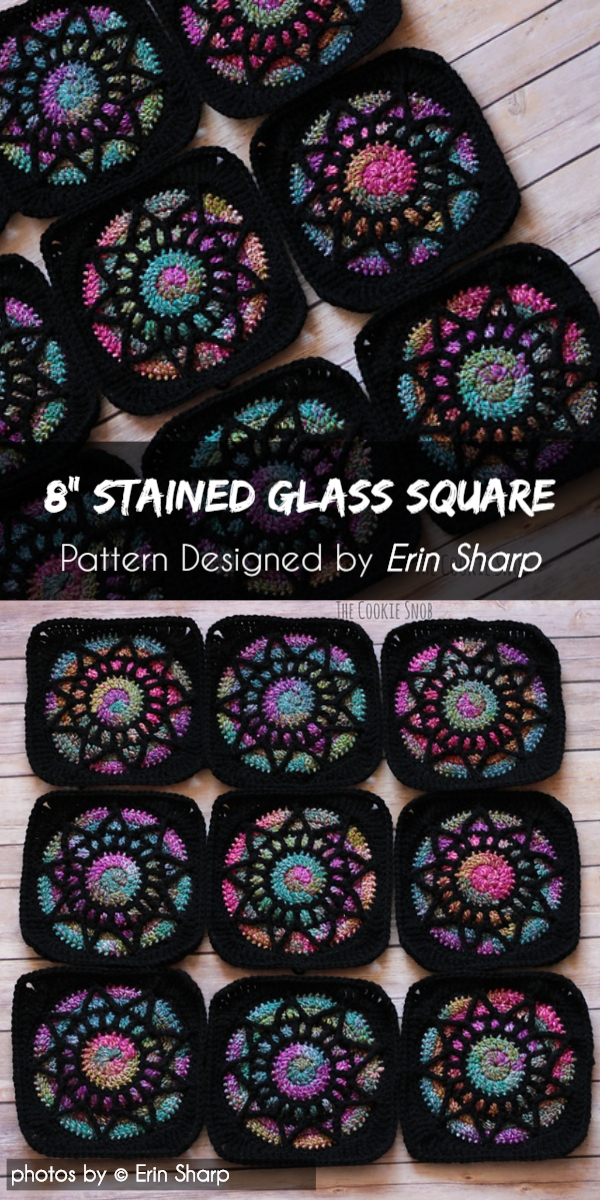 Stained Glass Square 8 Afghan Block Pattern