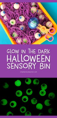 Halloween Sensory Bin For Kids | Children will have a blast playing with this colored spaghetti and eyeball sensory bin.Halloween Activities at home #halloween #sensoryplay #sensorybin #kidsactivities #ideasforkids #kidsandparenting