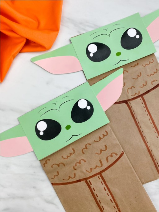 closeup of baby yoda puppet craft
