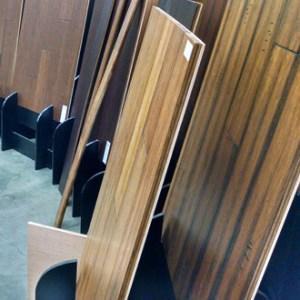 Sample boards of hardwood floors in the Simple Floors PDX showroom