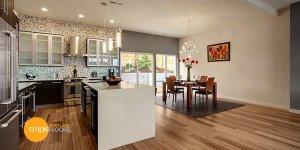 Natural African Walnut engineered hardwood floors Kitchen