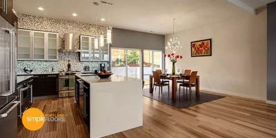 Natural African Walnut engineered hardwood floors Kitchen