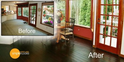 cocoa brown Hardwood Floor Before After