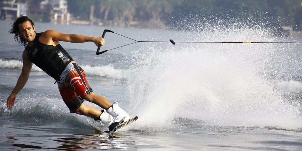 Water Skiing and wake boarding at the Portland Willamette River waterfront