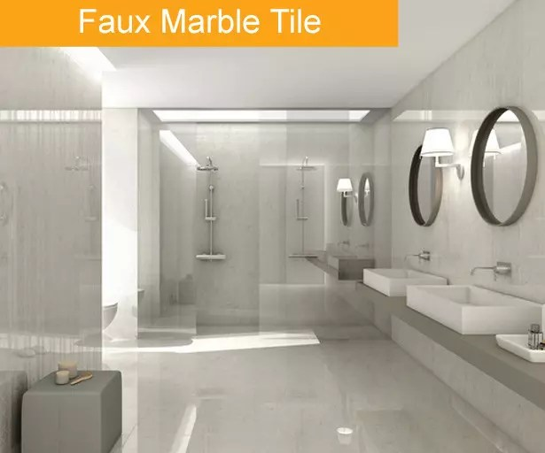 Faux Marble Tile Trend   Bathroom Tile