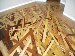 custom inlaid wood stack hardwood floor
