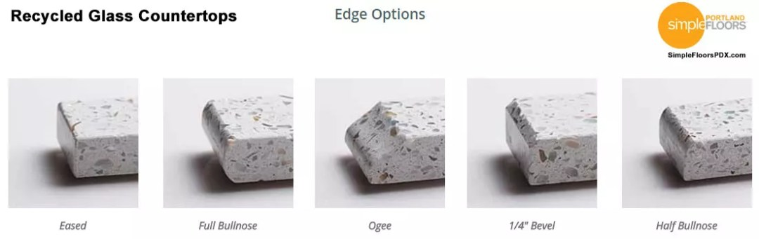 Portland Recycled Glass Countertops edge options